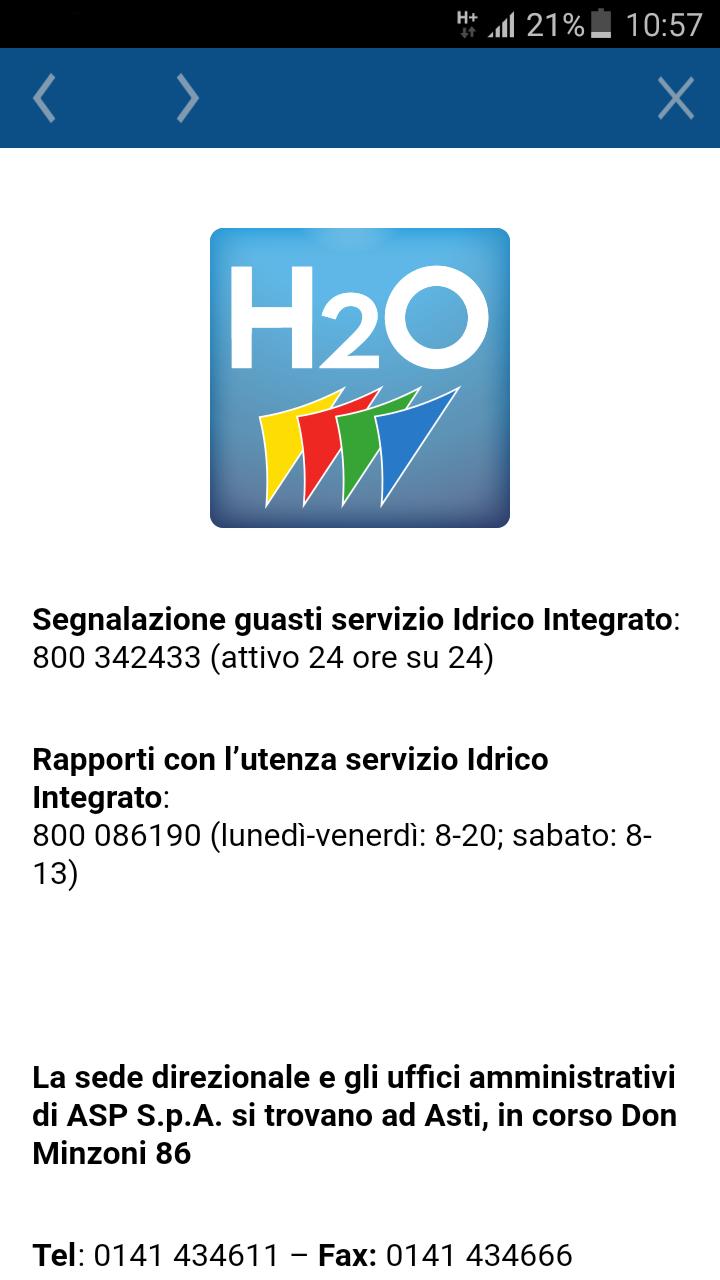 Schermata App AstiH2O contatti