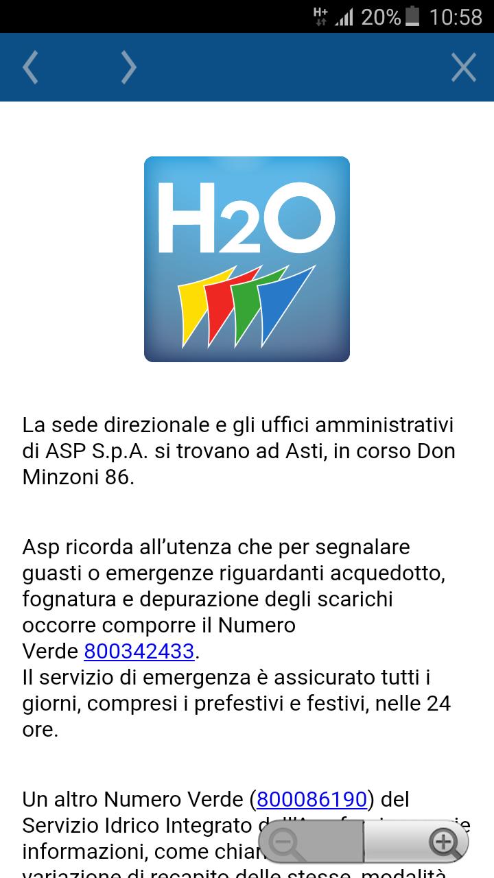 Schermata App AstiH2O segnalazioni