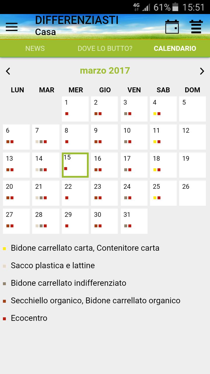 Schermata App Differenziasti - calendario