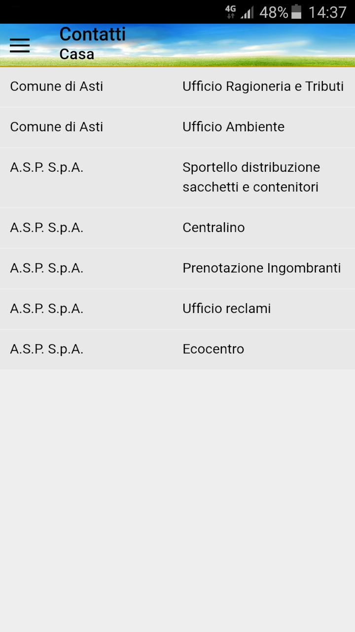 Schermata App Differenziasti - contatti