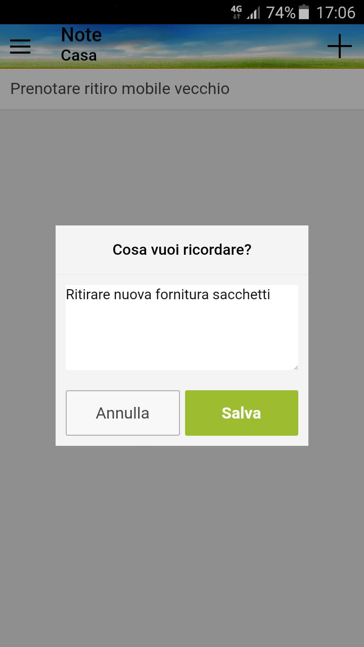 Schermata App Differenziasti - note