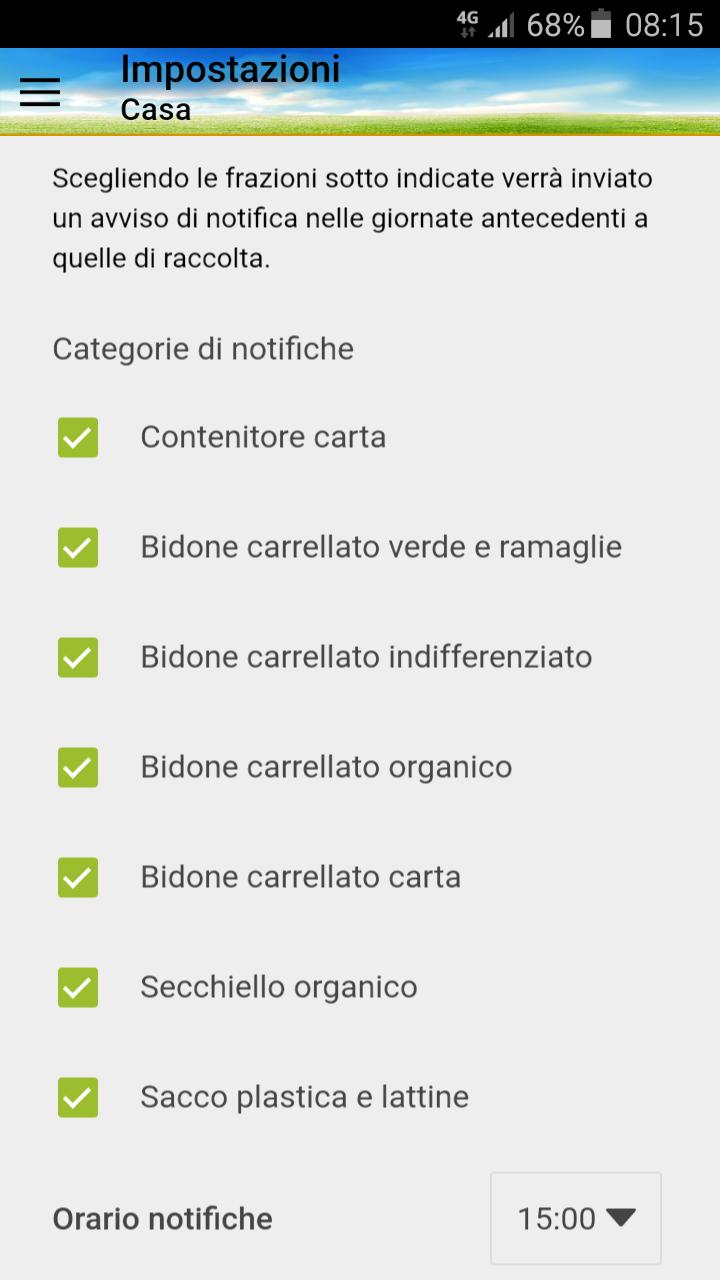Schermata App Differenziasti - notifiche