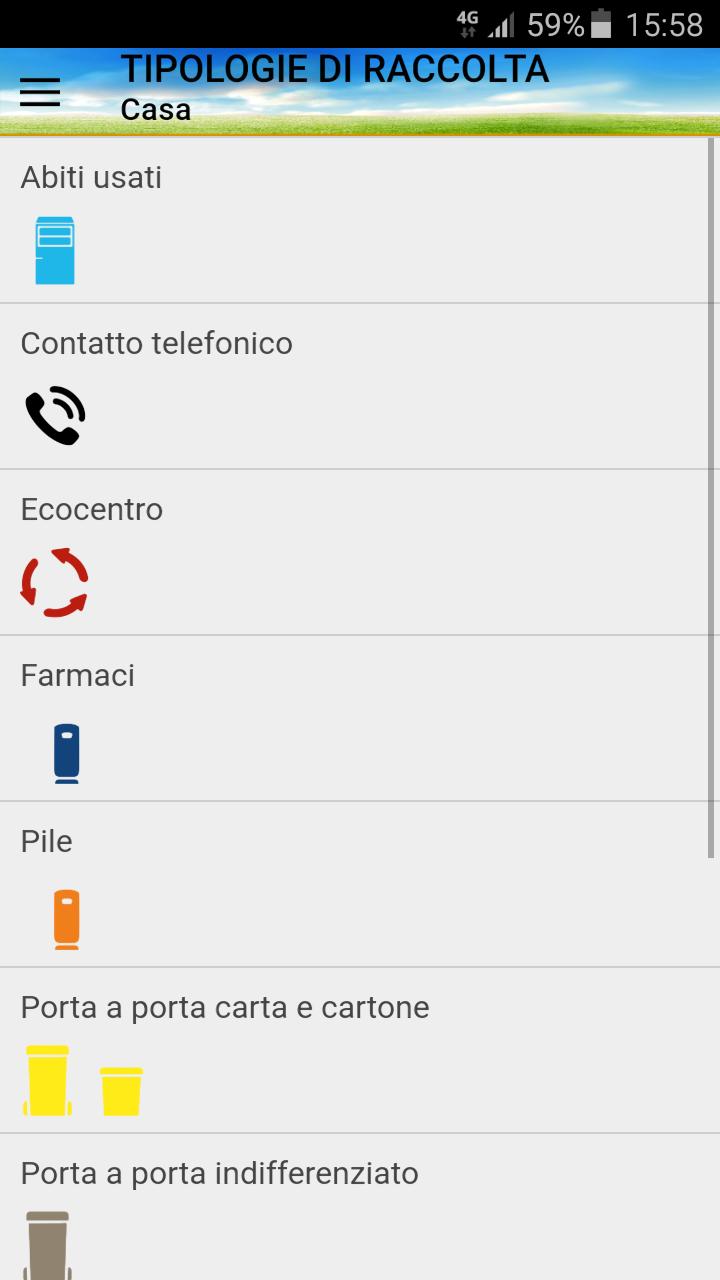 Schermata App Differenziasti - tipologie di raccolta